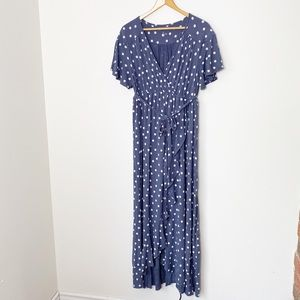 Maternity Blue Maxi Dress w/ White Polka Dots | L